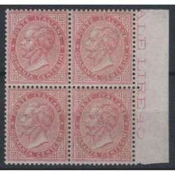 1863 REGNO 40 c. LONDRA n. L20 QUARTINA OTTIMA CENTRATURA CERT. G.I. MNH** regno d' Italia francobolli filatelia stamps