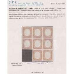 1861 SARDEGNA 3 L. RAME n.18 BLOCCO 8 ES. CARTA SPESSA CERT. G.I. MNH** Sardegna francobolli filatelia stamps