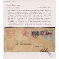1933 REGNO TRITTICO SERVIZIO DI STATO L. 5,25+44,75 CERT. SU BUSTA VIAGGIATA regno d' Italia francobolli filatelia stamps