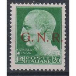 1943 R.S.I. 20 L. VERDE G. SOPR. G.N.R. BRESCIA I TIPO n.487/I CERT. G.I. MNH** R.S.I. e Luogotenenza francobolli filatelia ...