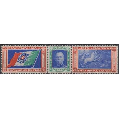 1933 REGNO TRITTICO 5,25+19,75 L. SENZA SOPR. n. 51/I CERT. G.I. MNH** regno d' Italia francobolli filatelia stamps