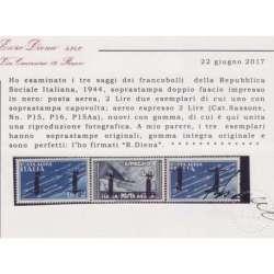 1944 R.S.I. SAGGI P.A. 3 V. DOPPIO FASCIO Nn.P15A-P16-P15Aa CERT. G.I.MNH** R.S.I. e Luogotenenza francobolli filatelia stamps