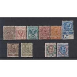REGNO D'ITALIA 1901 FLOREALE 10 VALORI G.I MNH** 2 CERT. regno d' Italia francobolli filatelia stamps