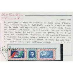 1933 REGNO TRITTICO 5,25+19,75 L. CIUFFO SENZA SOPR. 51/Ia CERT. G.I. MNH** regno d' Italia francobolli filatelia stamps