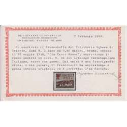 "TRIESTE ZONA B 1948 PRO CROCE ROSSA VARIETA' SOPR. ROSSA N.4A G.I MNH** 2 CERT. Trieste Zona ""B"" francobolli filatelia stamps"