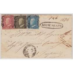 1859 SICILIA TRICOLORE 1 + 2 + 5 gr. SU BUSTA 2 CERTIFICATI Sicilia francobolli filatelia stamps