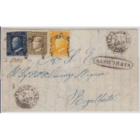 1859 SICILIA TRICOLORE 1/2 + 1 + 10 gr. SU BUSTA CERTIFICATO Sicilia francobolli filatelia stamps