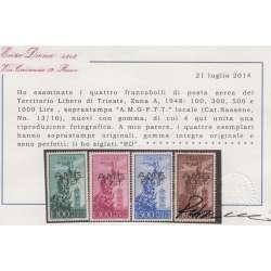 "TRIESTE ZONA A P.A. 1948 FILIGRANA RUOTA G.I. OTTIMA CENTRATURA CERTIFICATI Trieste Zona ""A"" francobolli filatelia stamps"