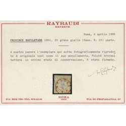 1861 PROVINCE NAPOLETANE 20 gr. GIALLO n. 23 USATO CERT. Napoli francobolli filatelia stamps