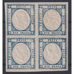 1861 PROVINCE NAPOLETANE 2 gr. AZZURRO ARDESIA n. 20c QUARTINA CERT. G.I. MNH** Napoli francobolli filatelia stamps