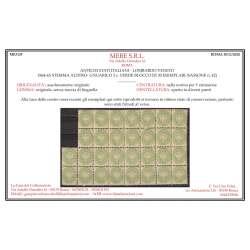 LOMBARDO VENETO 1864-65 BLOCCO 3 SOLDI VERDE 30 V. G.I MNH** CERT. Lombardo Veneto francobolli filatelia stamps