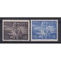 VATICANO 1948 POSTA AEREA TOBIA 2 VALORI G.I MNH** CERT. Vaticano francobolli filatelia stamps