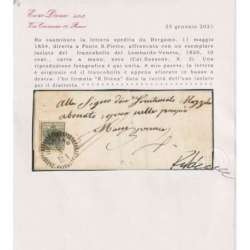 LOMBARDO VENETO 1850 10 CENTESIMI N.2 SU BUSTA ISOLATO PER DISTRETTO CERT. Lombardo Veneto francobolli filatelia stamps