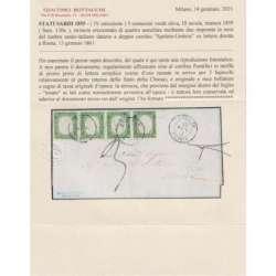 SARDEGNA 1859 STRISCIA 5 CENTESIMI 4 V. N.13Bc VERDE OLIVA SU BUSTA CERT. Sardegna francobolli filatelia stamps