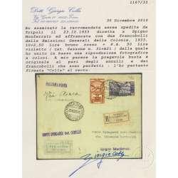 EM. GENERALI 1933 CINQUANTENARIO ERITREO 2 ALTI VALORI SU RARA BUSTA CERTIFICATA regno d' Italia francobolli filatelia stamps