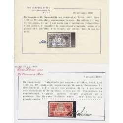 1933 LIBIA ESPRESSO 1,25 L. SU 60 c. SOPRASTAMPA IN NERO n.11 G.I. CERT. MNH** Colonie francobolli filatelia stamps