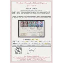 "1951 TRIESTE ""A"" 2X CONCORSI GINNASTICI GINNICI 3 V. S.18 CERT. BUSTA VIAGGIATA Colonie e Occupazioni francobolli filatelia ..."