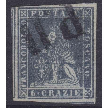 1851-52 TOSCANA 6 cr. ARDESIA n.7 CERT. BOLAFFI US. Toscana francobolli filatelia stamps