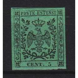 1852 MODENA 5 c. VERDE n.1 CERT. G. BOLAFFI LIEVE T.L. MLH* Modena e Parma francobolli filatelia stamps