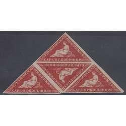 CAPO DI BUONA SPERANZA 1858 1 PENNY IN QUARTINA TRIANGOLARE MNH**/MH* RARA Inghilterra francobolli filatelia stamps