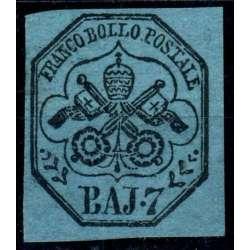 1852 STATO PONTIFICIO 7 b. AZZURRO n.8 CERT. RAYBAUDI G.O. MH* Stato Pontificio francobolli filatelia stamps